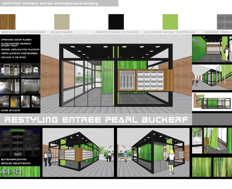 entree, portiek, woningbouwvereniging, woning verhuur, woningbouw, progrez, dordrecht, definitief ontwerp, impressie, artist impression, verbouwing, visualiseren, bamboo, grote prints, kleuradvies, qcreationz, Q CreationZ, Monique van Liempd